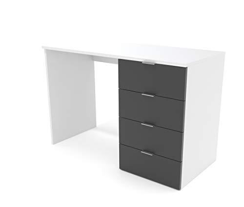 Dormidán- Escritorio 4 Cajones, Mesa de Oficina, Despacho Ordenador, (Blanco cajones Antracita)