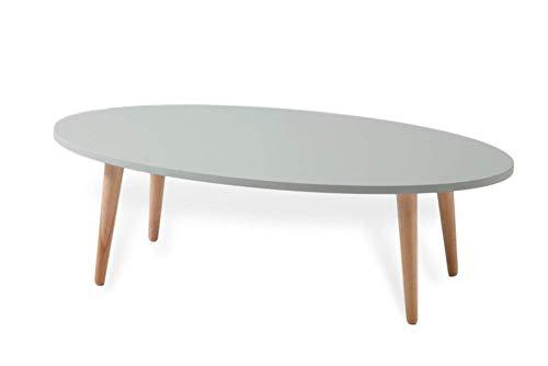 FLENDIT Home - Tavolino da salotto ovale moderno da 110 cm Ø in stile scandinavo di prima qualità, colore verde menta chiaro e gambe in legno massello di faggio 100% naturale.