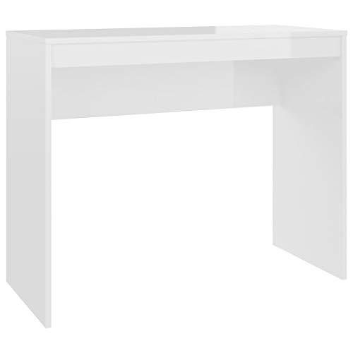 vidaXL Schreibtisch Computertisch Büromöbel Büro PC Tisch Arbeitstisch Bürotisch Laptoptisch Konsolentisch Hochglanz-Weiß 90x40x72cm Spanplatte