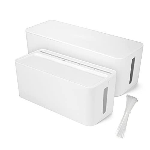 2 Stück Kabelbox Uktunu® Kabel Boxen Kabelmanagement-Box Kabelmanagement zum Kabel verstecken bei Aufbewahrungsbox für Kabelführungs Ladekabel,Schutz von Kindern & Tieren(Weiß)