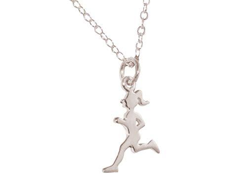 Gemshine Fitness Halskette Runner in 925 Silber, hochwertig vergoldet oder rose im Sportschmuck Sport-look Jogger Stil – Made in Madrid, Spain, Metall Farbe:Silber