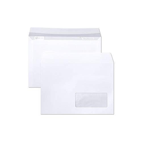 Clairefontaine 10242 C doos met 500 enveloppen, met plakstrip 16,2 x 22,9 cm met venster kristal 90 g wit
