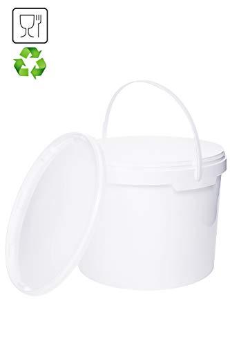 Eimer mit Deckel | Weiß 10x 5L | Kunststoffeimer Deckel Henkel Lebensmittelecht Hochwertiger (10x 5 Liter)