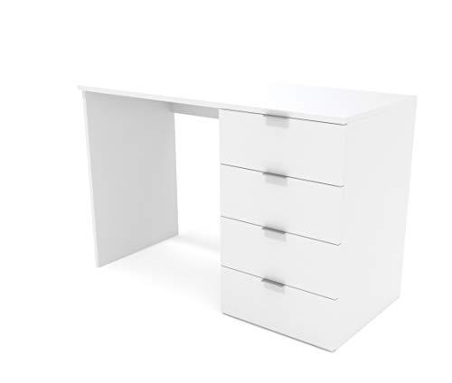 Dormidán- Escritorio 4 Cajones, Mesa de Oficina, Despacho Ordenador, (Blanco) 🔥