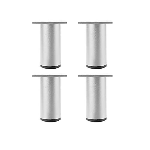 4 Piezas Patas de Aluminio para Muebles, Patas de sofá Rectas de Metal, Patas cuadradas reemplazables, Antideslizante, DIY Patas de muebles Pies de sofá Mesa Armario Patas (Color:silver,Size:8cm)