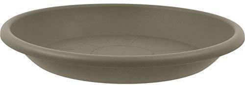 MePla Untersetzer für Pflanzkübel Cilindro rund, 58 cm Durchmesser, Taupe, wetterfestes Pflanzgefäß aus UV-beständigem Kunststoff
