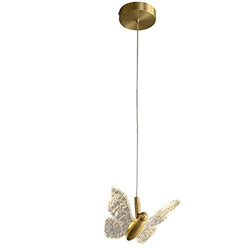 OURLOVEII Lámpara Colgante LED Cobre Dormitorio Lámpara de cabecera Moderno Comedor Luces Colgantes Altura Ajustable Dorado Colgante de luz Acrílico Pantalla(4W/32LM)