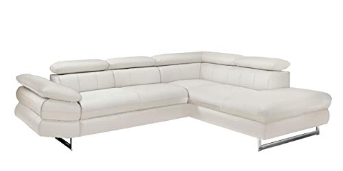 Mivano Ecksofa Solution / L-Form-Sofa in Kunstleder mit Bettfunktion, Armteil und Kopfstützen verstellbar / 262 x 73 x 228 / Weiß
