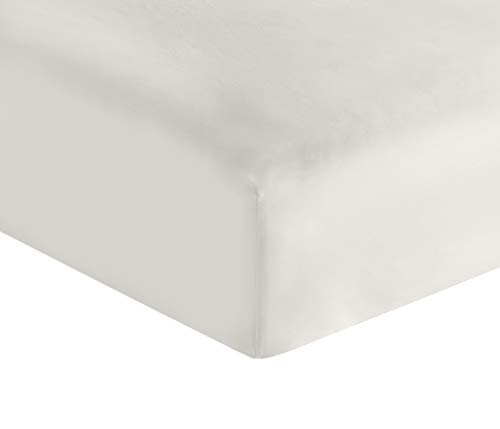 Whisper Organics Organic Cotton Fitted Sheet G.O.T.S. Certified 400 Thread Count (White, Queen)