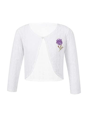 YUUMIN Girls Long Sleeves Lace Cardigan Kids Toddler Knit Sweater Bolero Closure Shrugs Flower Cotton Coat White&Blue 5-6 Years