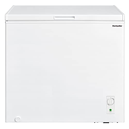 198ltr Chest Freezer in White with Built in Hinges, F Rated and 1 x Freezer Basket - Freezer to Fridge Conversion