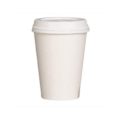We Can Source It Ltd - Bicchieri di carta bianca a parete singola, 226,8 g, con coperchio bianco, ideali per tè, caffè, cappuccino, bevande calde, 100% biodegradabili, riciclabili, 100 pezzi