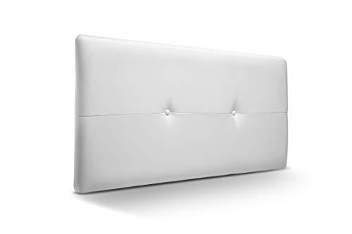 buenos comparativa Cabecero fabricado en material Jazzmin y tapizado en símil piel blanca.  Cabecero de madera para… y opiniones de 2021