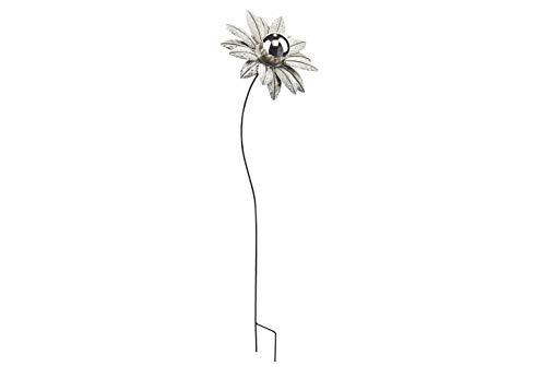 Kobolo Gartenstecker Dekostecker Blume White Flower aus Metall und Edelstahl H 89 cm