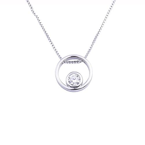 Kkoqmw Collares de Cuentas de circonita con aro de Anillo Redondo de Plata de Ley 925 para Mujer, Colgantes de Collar Simple, joyería de Cadena de Plata