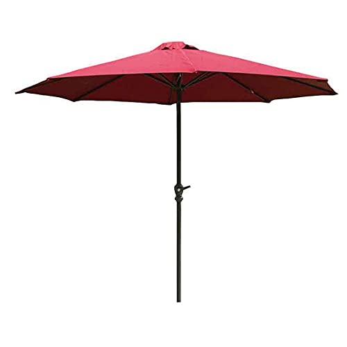Riyyow Parasol Paraguas Patio Parasol, 2.7m Paraguas Offset a Prueba de Viento Grandes para la configuración Circular de la Mesa, Cubierta roja y Polo Gris Negro