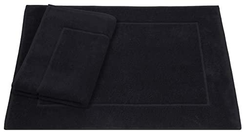 Betz Lot de 2 Tapis de Bain Premium de Taille 50 x 70 cm 100% Coton Color Noir