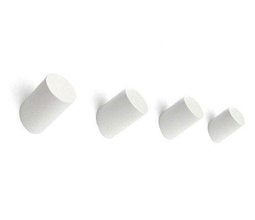 Perchero de pared de madera de roble maciza, color natural, moderno, estilo escandinavo, juego de cuatro unidades , madera, Blanco, 5.5X3