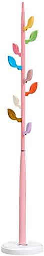 FF Perchero de Hierro Forjado Perchero de pie Color Libre Árbol Ropa Sombreros Perchero con 9 Ganchos para Entrada Pasillo Dormitorio Habitación de niños Perchero Creativo (Color: Rosa)