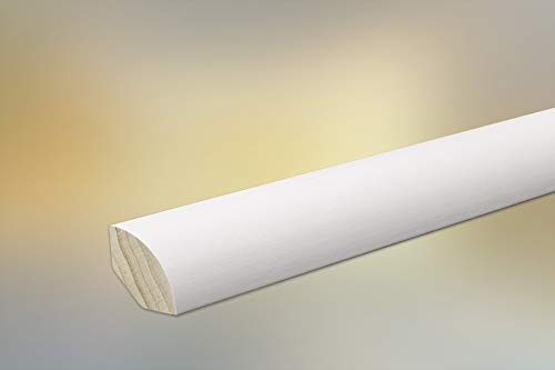 Handmuster Sockelleisten/Viertelstab/Deckleiste massiv für Parkett und Massivholzdielen, 14 x 14 mm, weiß lackiert (RAL 9016) ab 1,86 € / m