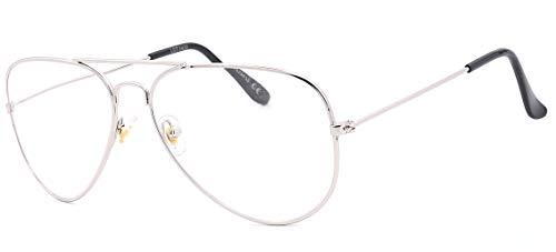NEWVISION - Gafas de lectura, gafas de vista para presbicia, montura de metal, estilo retro aviador, ref. NV8132 +1.00 Argente