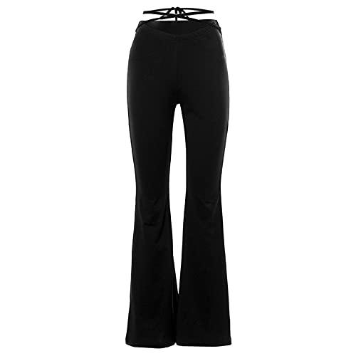 Julhold Bootcut - Pantalones elásticos para mujer, ajustados, pantalones de yoga, pantalones acampanados, cintura en V, otoño, cintura alta, sexy, recortados, con lazo cruzado, Negro, M