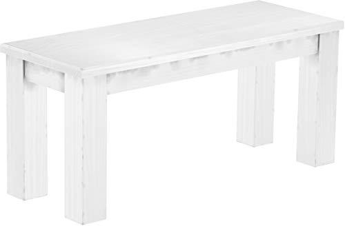 Brasilmöbel Sitzbank 100 cm Rio Classico Schnee Weiss Pinie Massivholz Esszimmerbank Küchenbank Holzbank - Größe und Farbe wählbar
