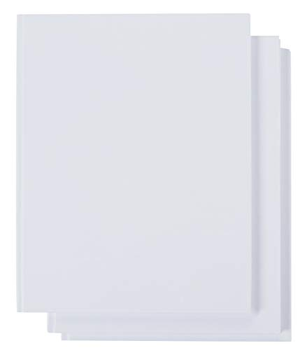 3 Pack White Hardcover Blank Book, Unlined Plain Journals for Students Sketches, Story Writing, 8.5x11