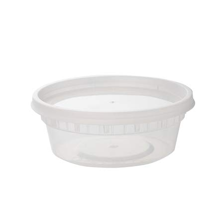 Pack of 24, 8 oz Round Plastic Food Containers with Leak-Proof Airtight Lids ~ BPA-Free ~ Microwave, Fridge, and Freezer Safe ~ Recyclable, Washable, and Reusable Meal Prep Storage Deli Tubs