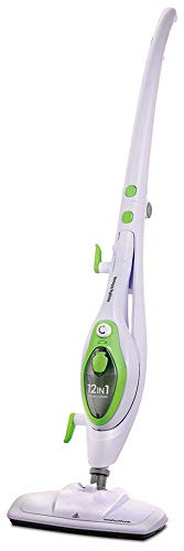 Morphy Richards 720512 12-in-1 Steam Cleaner, Kills 99.9 Percent of Bacteria Around the Home, White/Green, 380 ml