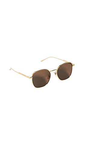 Bottega Veneta Women's Metal Ribbon Round Sunglasses, Gold/Gold/Brown, One Size