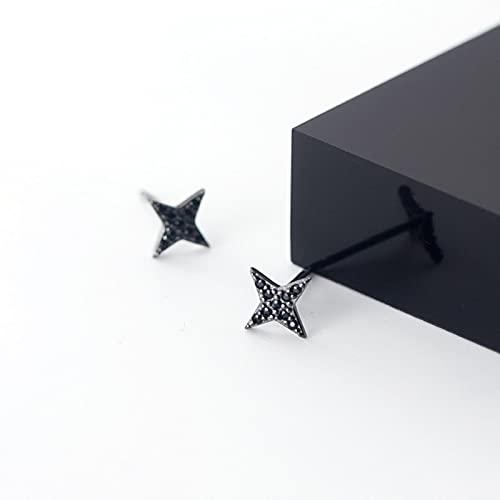 SALAN Pendientes De Botón De Dardos Vintage De Plata De Ley 925 para Mujer, Pendientes De Estrella De Circonita Negra, Joyería Fina De Moda