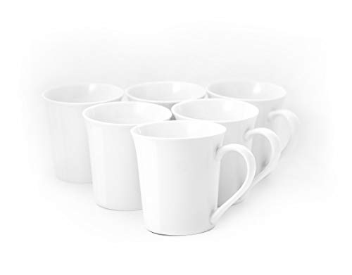 Amuse- Professional Porcelain Bistro Collection- Tall Mugs- Set of 6-13 oz