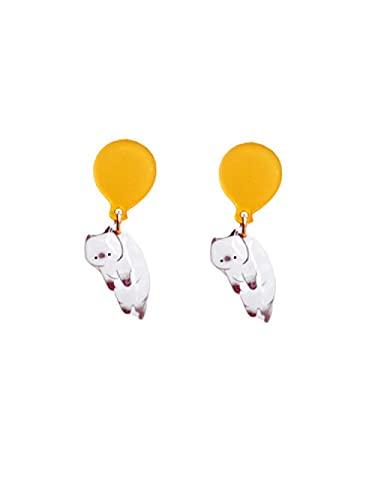 sis-woner Balloon Cat s925 uñas de Hongos Blancos Lindos y Divertidos aretes Pintados a Mano sin Clips para Las Orejas Perforadas Gift-B