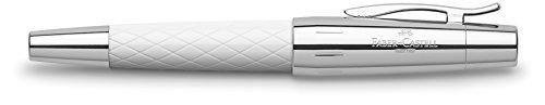 Faber Castell 148591 - Pluma estilográfica E-motion con cuerpo en resina de color blanco, guilloqueada con el diseño romboidal Rhombus, plumín de acero inoxidable, trazo F