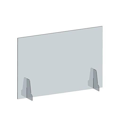 当日発送 日本製 透明アクリルパーテーション 高透明キャスト板採用 厚さ5mm 飛沫感染予防 デスク用スクリーン 衝立 間仕切り 角丸加工 設置簡単(約幅900mmx高さ600mm 窓なし)kap-r9060