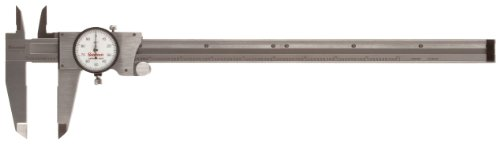 """Starrett R120A-6 Dial Caliper, Stainless Steel, Red Face, 0-6"""" Range, +/-0.001"""" Accuracy, 0.001"""" Resolution"""