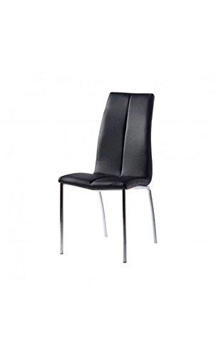 CAMINO A CASA - Chaise Design Effet Cuir Noir et Chrome Leaf