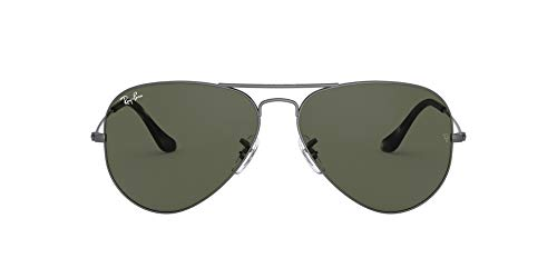 Ray-Ban Aviator Gafas, GRIS, 55 mm Unisex Adulto