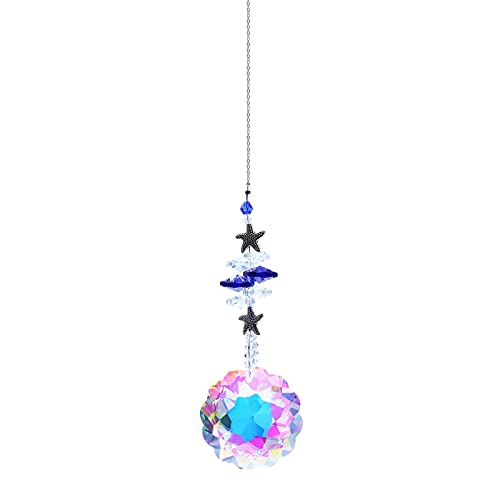 YJYdadaS Rainbow Wind Chimes, Crystal Wind Chimes AB Coating Crystal Prisms Hanging Sun Catcher Pendant Home Decor Gifts (Round #A)
