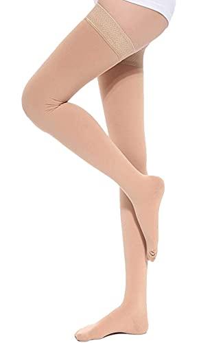 TOFLY Muslo-alta medias de compresión, compresión de gradiente de 20-30 mmHg con banda de silicona, clase 2, opacas, calcetines de compresión de punta cerrada, hinchazón del tratamiento, Beige L