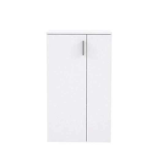FORTE Schuhschrank klein, Holzwerkstoff, Weiß, 68.90 x 34.79 x 120,41 cm