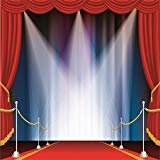 Laeacco Vinyl 8x8FT Photography Background Huge Swanky Red Curtain Stage Wedding Hall Red Carpet Spotlight Celebrating Festival Party Children Lovers Adults Photo Backdrop 2.5x2.5m Photo Studio Props