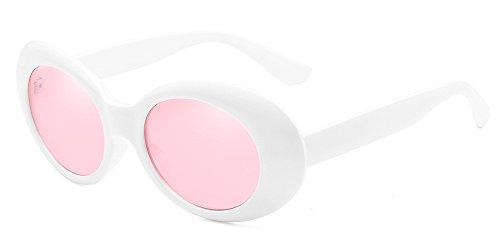 BOZEVON Retro Ovale Sonnenbrille - UV400 Schutzbrillen für Damen & Herren Weiß-Pink