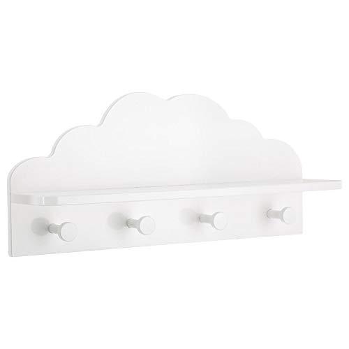 Atmosphera 2 en 1 Colgador + Estantería de Madera para niños - Forma Nube - Color Blanco