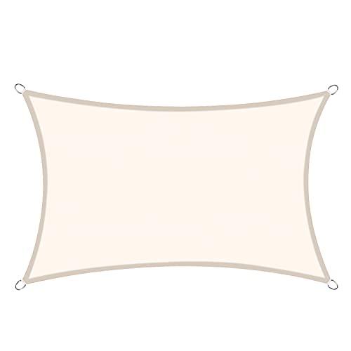 Sunnylaxx Vela de Sombra Rectangular 3 x 5 Metros, toldo Resistente e Impermeable, para Exteriores, jardín, Color Crema