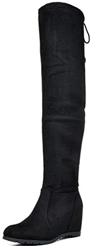 DREAM PAIRS Women's Leggy Black Faux Suede Over The Knee Thigh High Boots - 7.5 M US