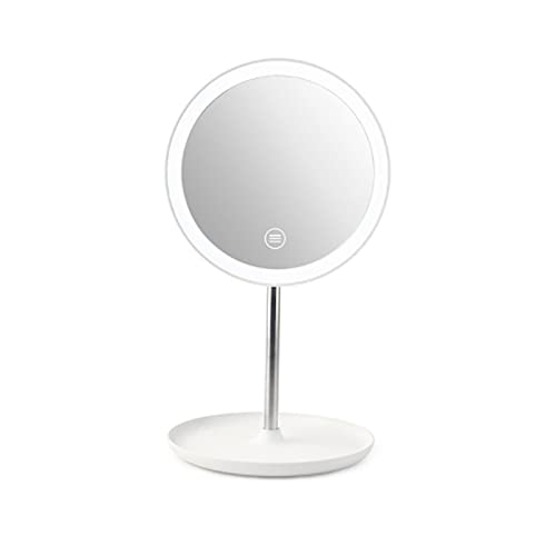Espejo De Maquillaje con Luz LED, Espejo De Tocador Recargable por USB, Espejo Cosmético Que Llena La Luz, Espejo De La Belleza Oscurecimiento De Tres Colores De La Pantalla Táctil,Blanco