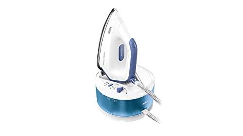 Braun CareStyle Compact IS 2143 - Plancha de vapor con suela FreeGlide 3D, vapor vertical, 2400 W, presión de la bomba de 6 bares, vapor de 400 g/min, depósito de agua de 1,5 l, color azul