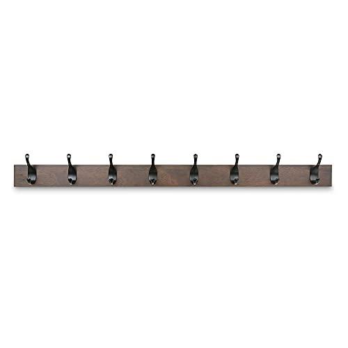 Amazon Basics - Legno Appendiabiti da parete, 8 ganci moderni 92 cm, Noce